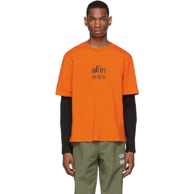 all in T-shirt a manches longues orange et noir Yiddish exclusif a SSENSE