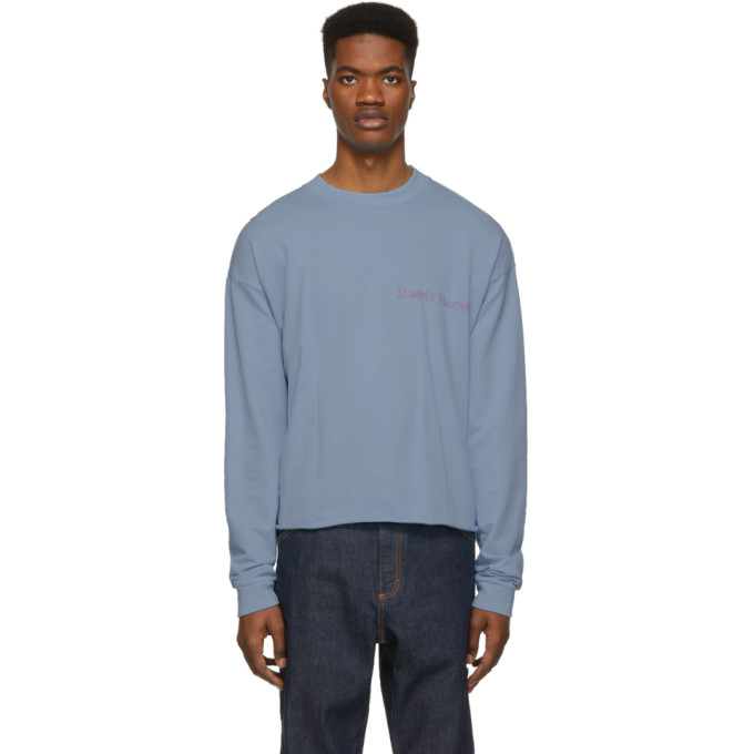 Image of Nasaseasons SSENSE Exclusive Blue 'Almost Famous' Long Sleeve T-Shirt