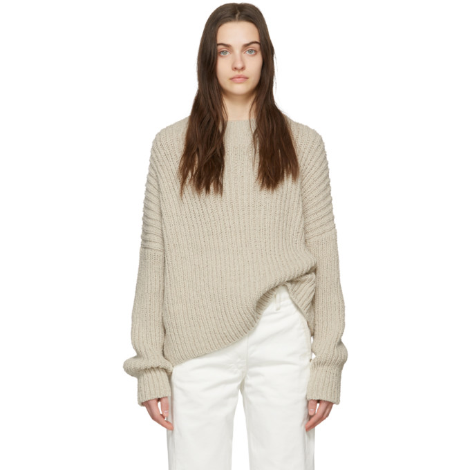 LAUREN MANOOGIAN | Lauren Manoogian Beige Boucle Pullover Sweater | Goxip