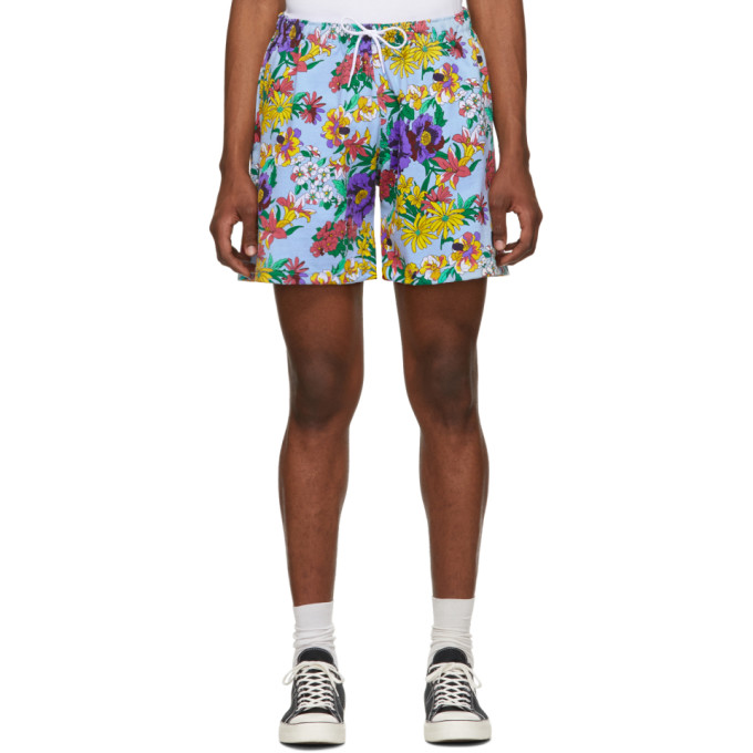 Noah NYC Blue and Multicolor Floral Rugby Shorts