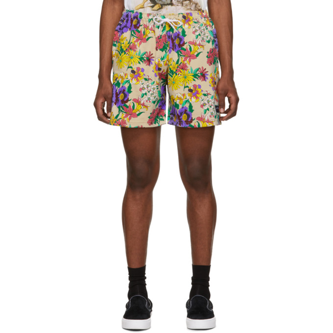Noah NYC Beige and Multicolor Floral Rugby Shorts