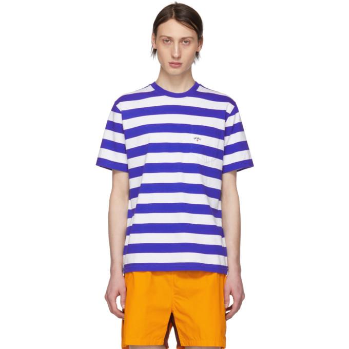 Noah NYC Blue and White Stripe Pocket T-Shirt