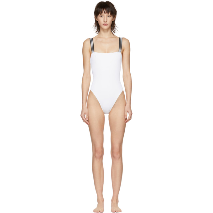 Solid And Striped White The Riley One-Piece Swimsuit in 1601 Ivory