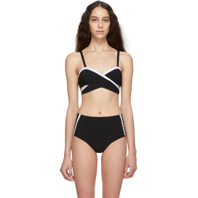 Ward Whillas Haut de bikini reversible bleu marine Bernadette