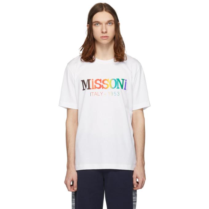 ba9ec802e43 Missoni White Rainbow Logo T-Shirt