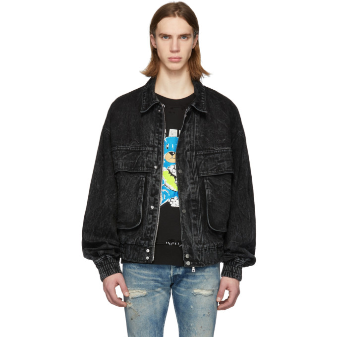 Image of Amiri Black Acid Wash Eighties Trucker Jacket