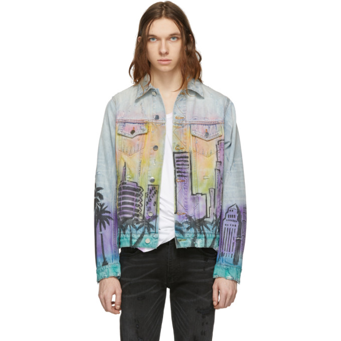 Amiri Jackets AMIRI INDIGO DENIM AIRBRUSH HOLLYWOOD TRUCKER JACKET