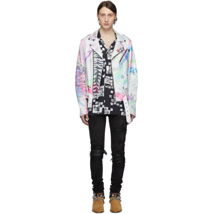 Amiri Jackets White & Multicolor Leather Graffiti Biker Jacket