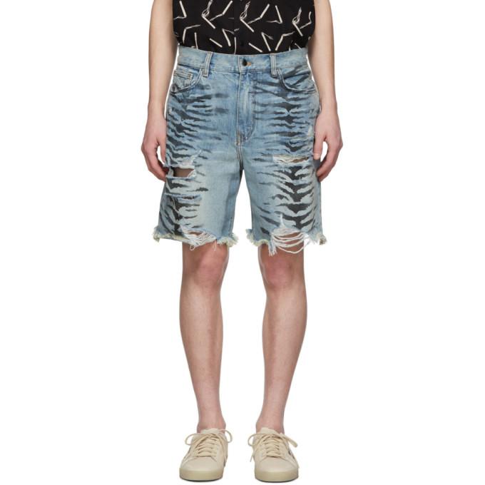 19a8233aa8 AMIRI. Men's Dirty Denim Thrasher Tiger Shorts ...