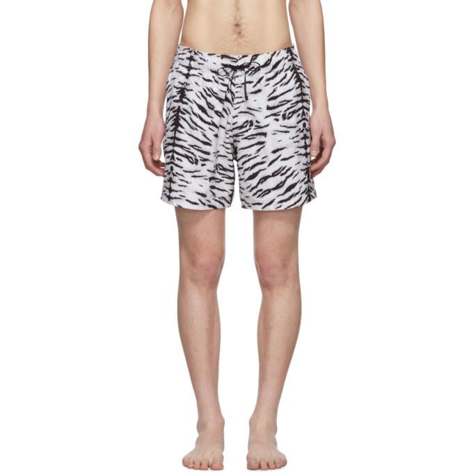 Amiri Maillot de bain noir et blanc Tiger
