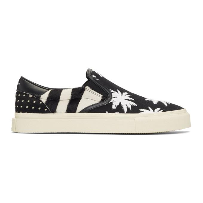 Amiri Black & White Calf-Hair Palm Slip-On Sneakers