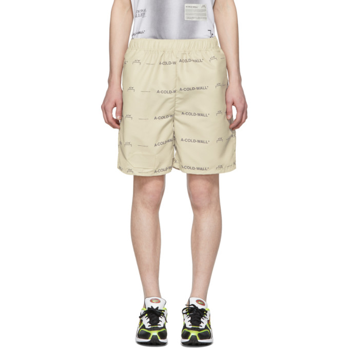 Image of A-Cold-Wall* Beige Logo Shorts