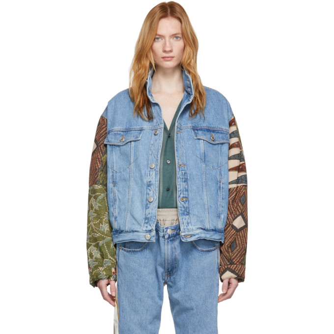 Martine Rose Jackets MARTINE ROSE BLUE AND BROWN DENIM SHIRT HOODIE JACKET
