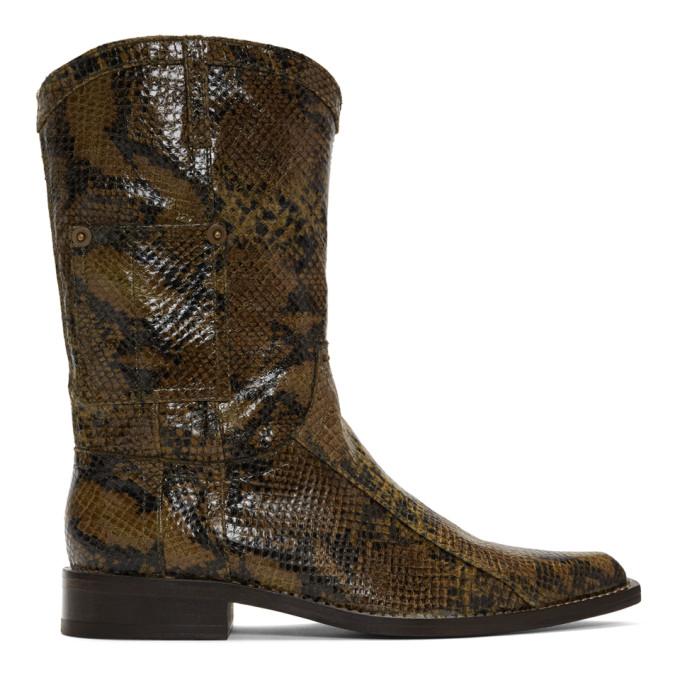 Martine Rose Bottes brunes Snake Cowboy