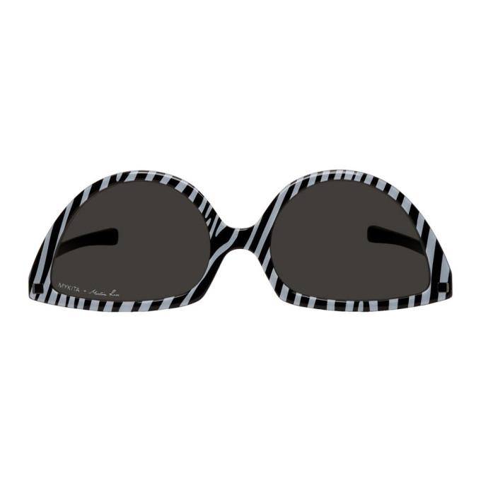 Martine Rose Black & White Mykita Edition Zebra SOS Sunglasses