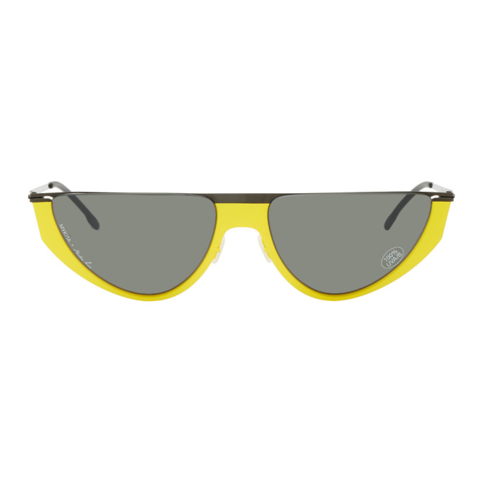 Image of Martine Rose Black & Yellow Mykita Edition Selina Sunglasses
