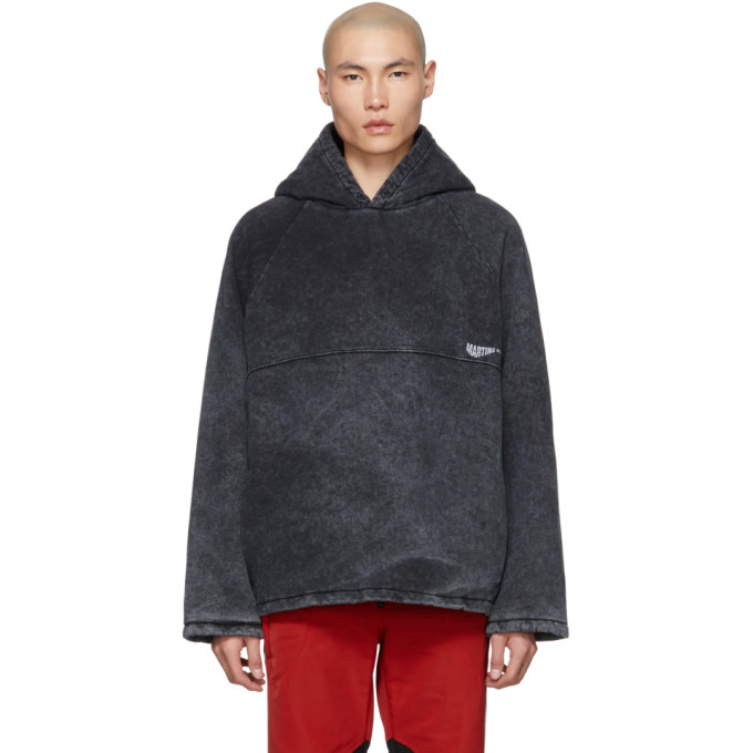 Martine Rose Pull a capuche noir Acid Wash