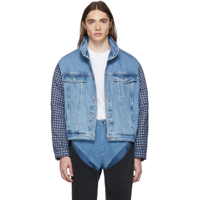 Martine Rose Blouson en denim bleu Shirt Hoodie