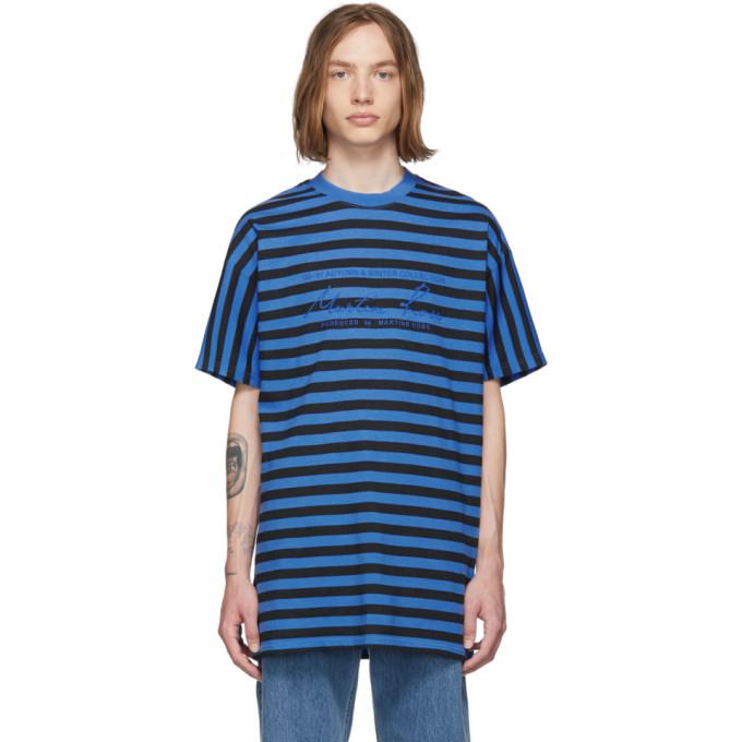 Martine Rose T-shirts MARTINE ROSE BLUE AND BLACK STRIPED OVERSIZED T-SHIRT