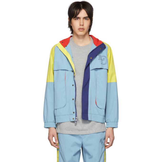 Image of Aimé Leon Dore Blue Colorblocked Logo Windbreaker Jacket
