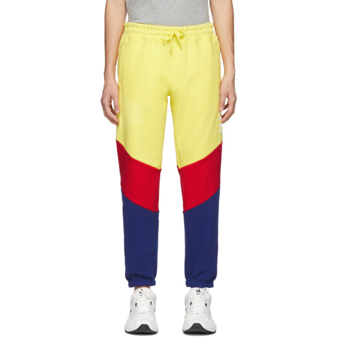 Aime Leon Dore Yellow Colorblocked Logo Lounge Pants