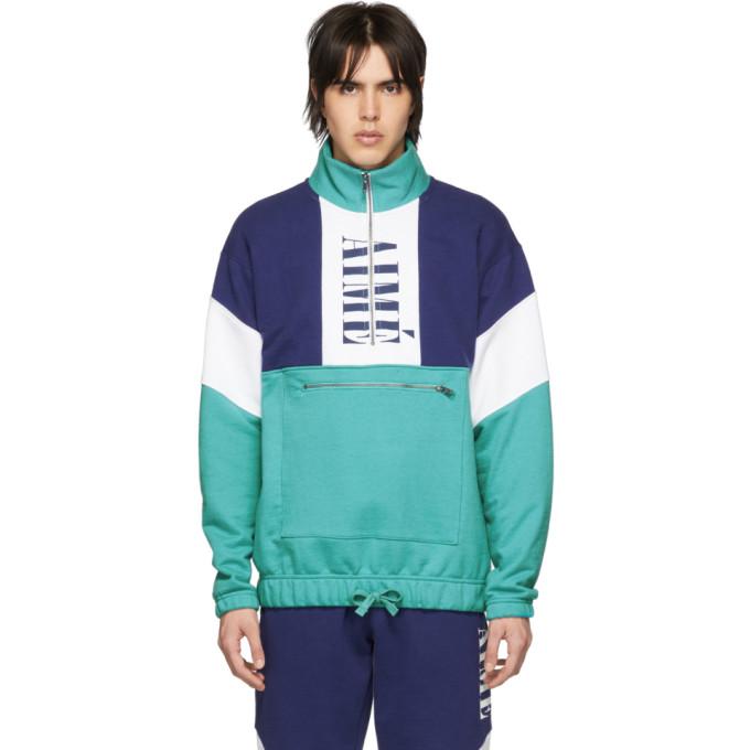 Image of Aimé Leon Dore Blue Colorblocked Quarter Zip Pullover