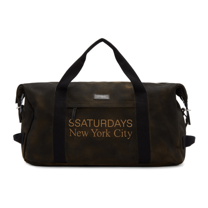 SATURDAYS NYC | Saturdays NYC SSENSE Exclusive Brown Norfolk Hold-All Duffle Bag | Goxip