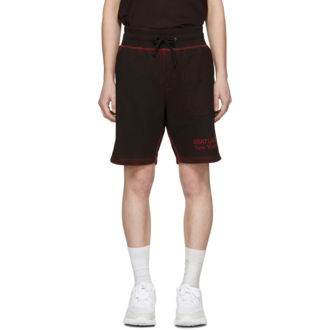 f6007010e338 Saturdays NYC SSENSE Exclusive Black and Red Austin Shorts