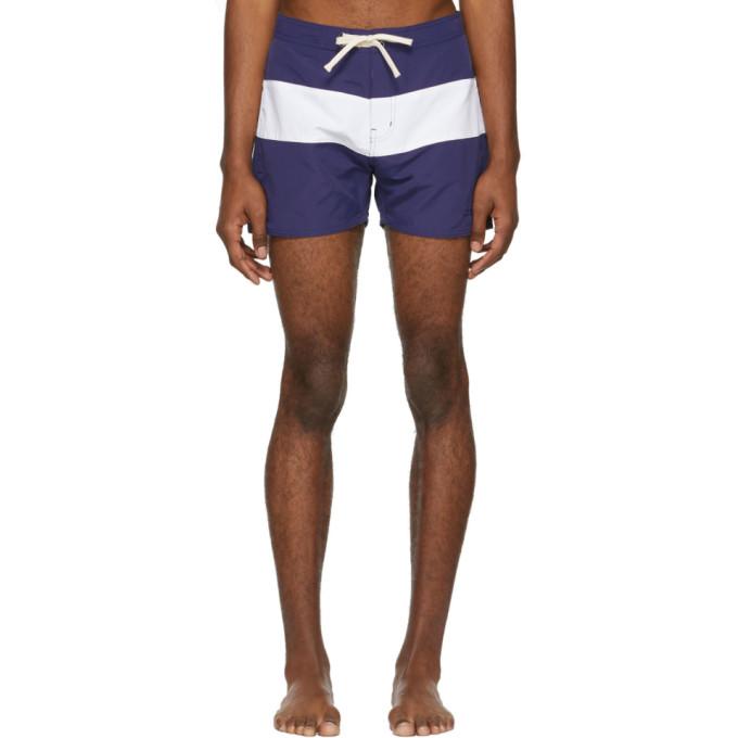 Saturdays NYC Maillot de bain bleu et blanc Grant Board Shorts