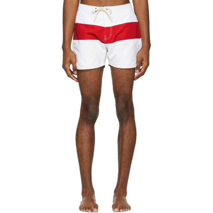 Saturdays Nyc Red And White Grant Board Shorts in White/Red