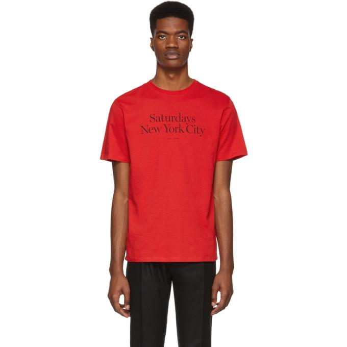SATURDAYS SURF NYC Saturdays Nyc Red Miller Standard T-Shirt in True Red