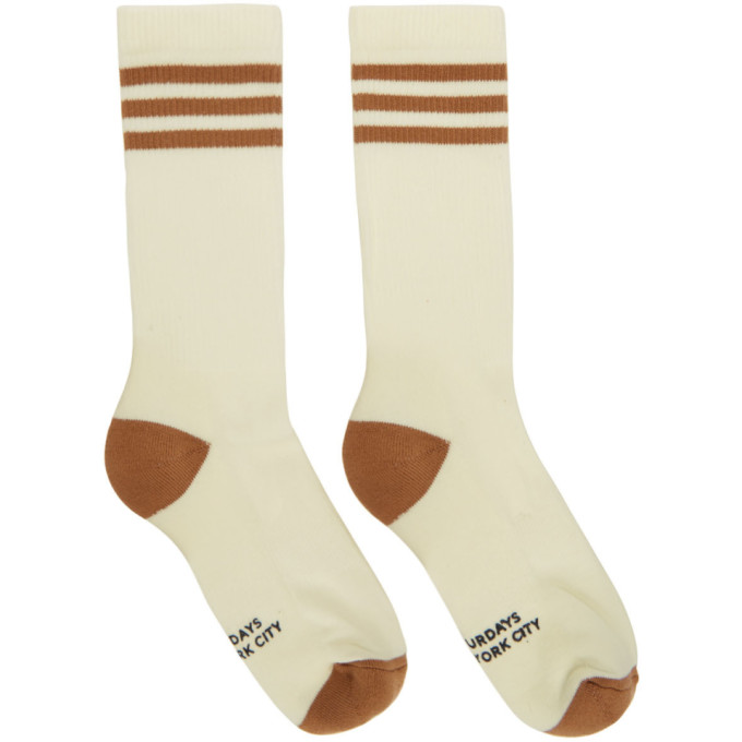 SATURDAYS NYC | Saturdays NYC White and Brown Athletic Socks | Goxip