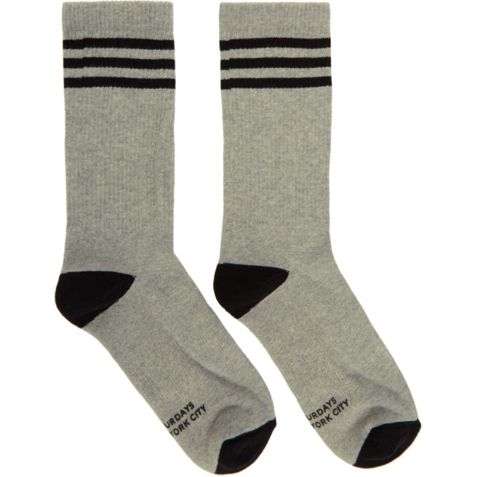 SATURDAYS NYC | Saturdays NYC Grey and Black Athletic Socks | Goxip