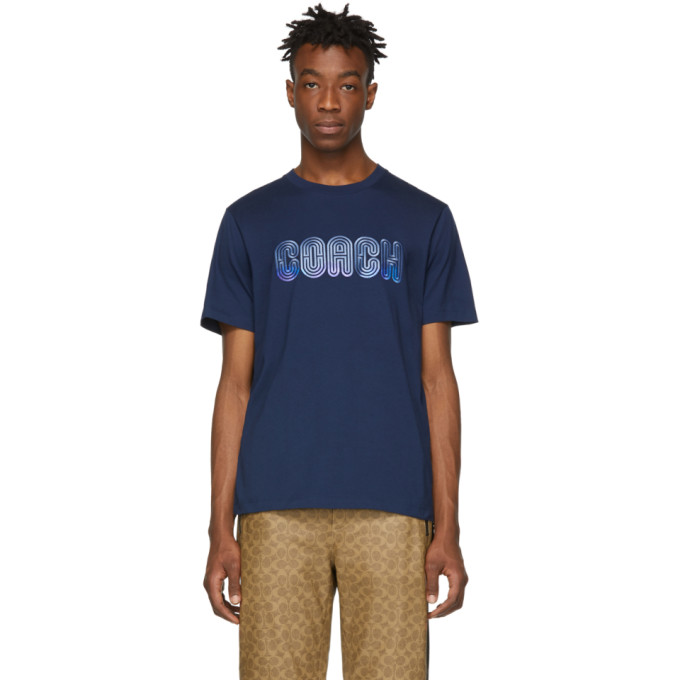 Image of Coach 1941 Blue Embroidered Maze T-Shirt