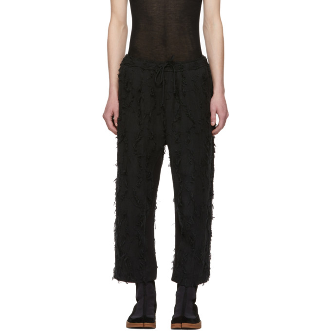Image of Abasi Rosborough Black Limited Edition Arc Taos Fray Trousers