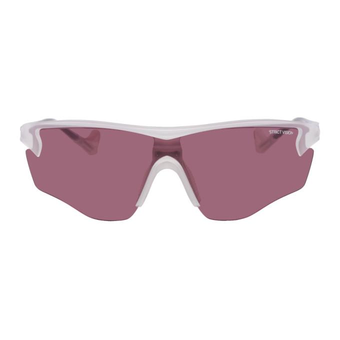 Image of District Vision White & Pink Junya Racer Sunglasses