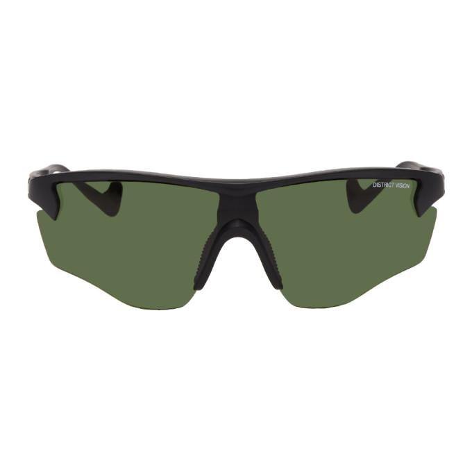 District Vision Sunglasses BLACK & GREEN JUNYA RACER SUNGLASSES