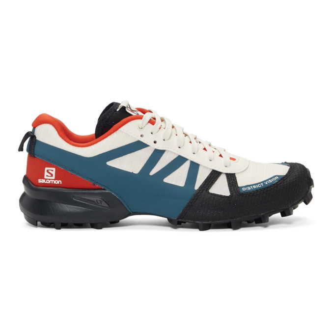Image of District Vision White & Blue Salomon Edition Mountain Racer Sneakers