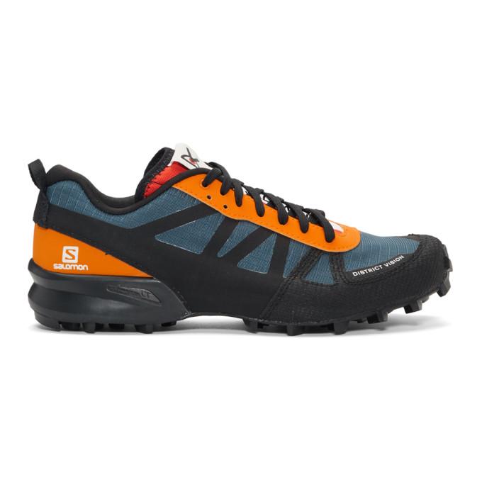Image of District Vision Blue & Orange Salomon Edition Mountain Racer Sneakers