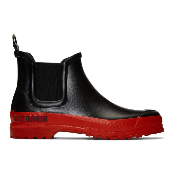 Stutterheim Bottes chelsea noires et rouges Rainwalker