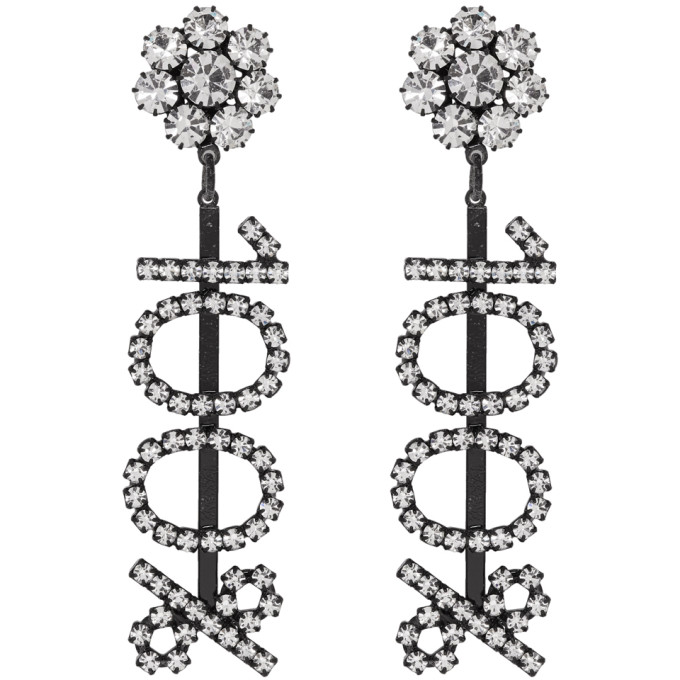 Image of Ashley Williams Black & Transparent '100%' Clip-On Earrings