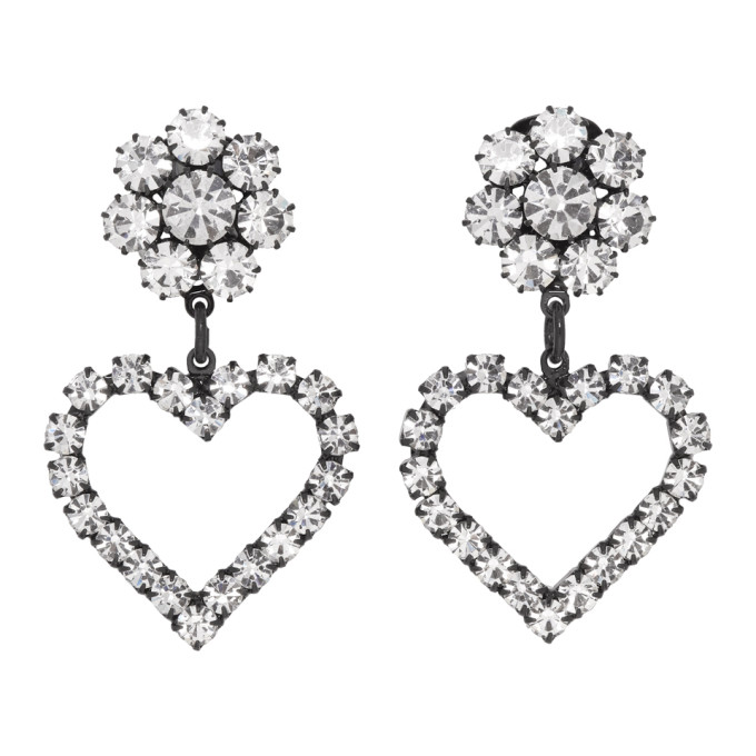 Image of Ashley Williams Black & Transparent Flower Heart Clip-On Earrings