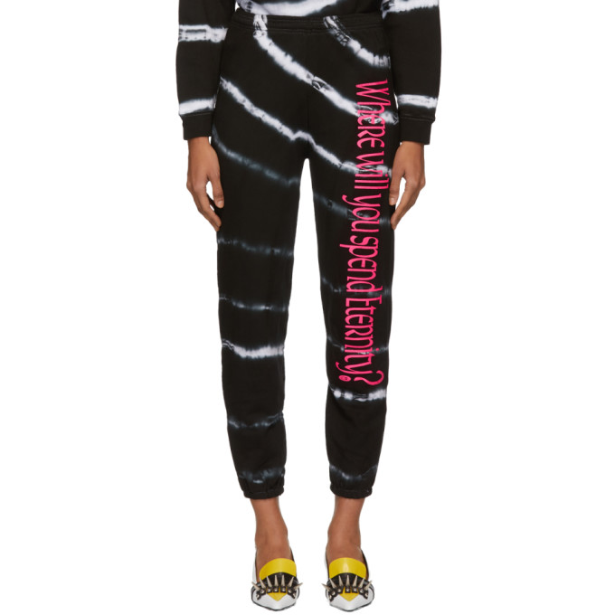 Image of Ashley Williams Black & White Tie-Dye 'Where Will You Spend Eternity' Lounge Pants