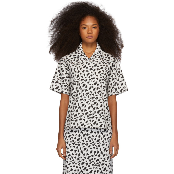 Ashley Williams T-shirts ASHLEY WILLIAMS SSENSE EXCLUSIVE BLACK AND WHITE SCRIBBLE TROPIC SHIRT