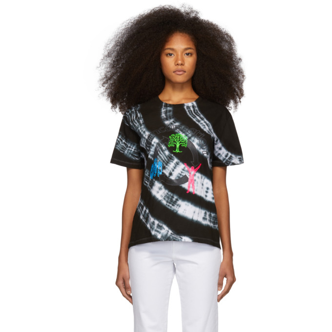 Image of Ashley Williams Black & White Tie-Dye 'Reincarnation' T-Shirt