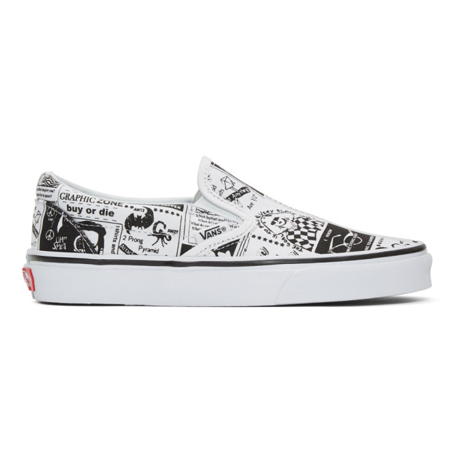 Ashley Williams ASHLEY WILLIAMS WHITE VANS EDITION NEWSPAPER CLASSIC SLIP-ON SNEAKERS