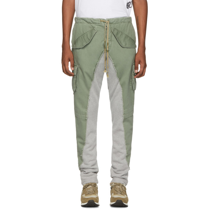 Greg Lauren Pantalon de survetement vert 50/50 Army/Terry