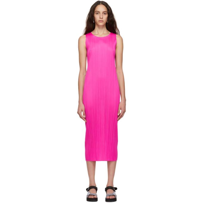 Pleats Please Issey Miyake ピンク カラフル ベーシック 2 ドレス