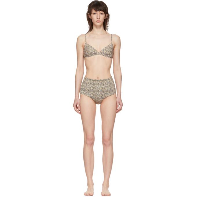 MATTEAU | Matteau Yellow Tri Crop Top High Waist Bikini | Goxip