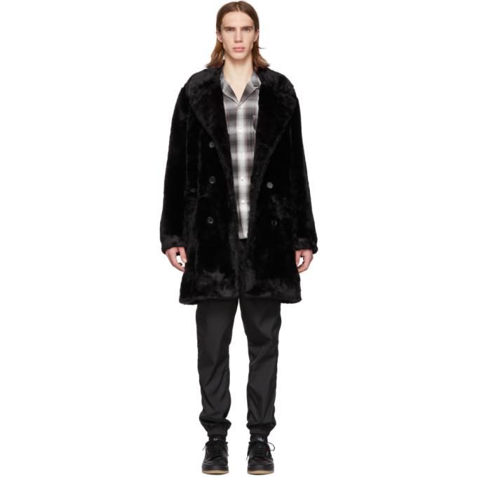 WACKO MARIA Wacko Maria Black Faux-Fur Coat